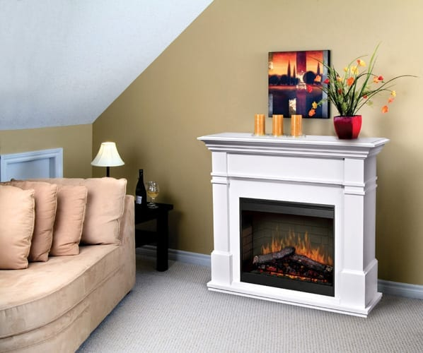 Dimplex Kenton White 26 Inch Electric Fireplace With